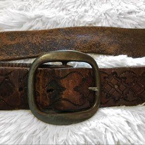 Vintage 70's brown leather belt